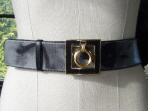 Black & Grey Piped Karung Snakeskin Belt
